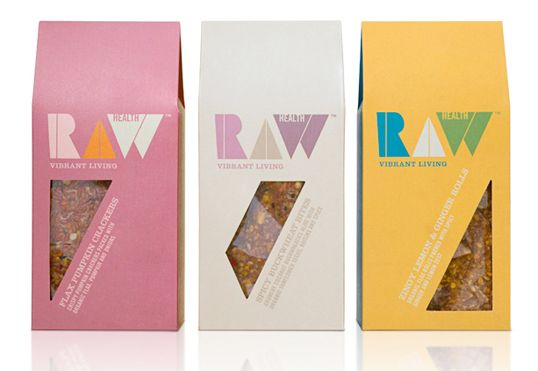 """New brand creation. Redefining the raw food movement, taking it from niche to a universally understood and accepted concept."" Designed by Pearlfisher -- UK"