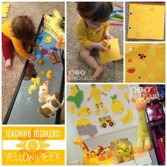 This girl has great activities for stay-at-home moms!  Teaching Toddlers: Yellow Week (for Kiddos 15+ Months) - sticker pages, a felt board, sensory play, handprint and footprint crafts, plus other great activities!  diyanddinosaurs.com