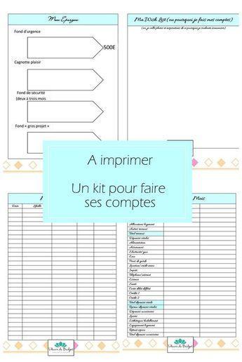 kit de fiches organisation a imprimer pour les comptes. Black Bedroom Furniture Sets. Home Design Ideas