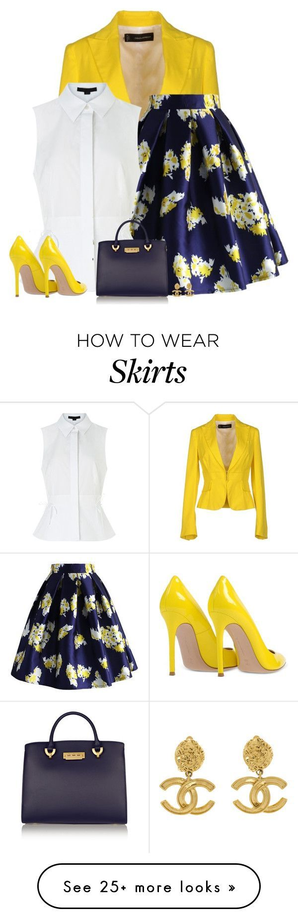 """""""bright blazer"""" by divacrafts on Polyvore featuring Dsquared2, Chicwish, Alexander Wang, Gianvito Rossi, ZAC Zac Posen, Chanel, women's clothing, women's fashion, women and female"""