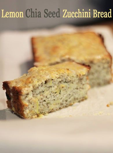 Lemon Chia Seed Zucchini Bread.  If I subbed in almond milk, almond flour, applesauce, greek yogurt, and agave without the sauce here is the approximate nutritional content per slice (if a loaf is 9 pieces): 117kcal, 11g Carbs, 8g Fat, 3.5g Protein.