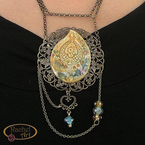 Handmade Statment Ceramic Jewelry Necklace, Vintage Inspiration