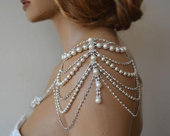 Schulterkleid, Brautkleid Accessoire, Braut Schulterklappen, Strass und Perle …   – mariage
