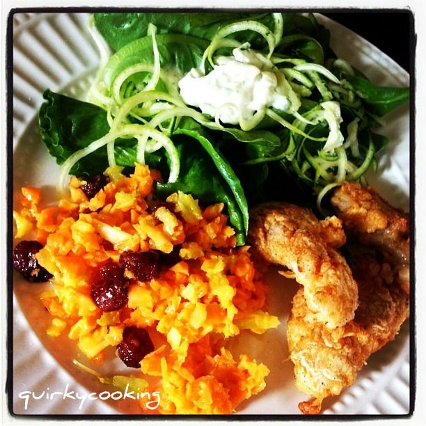 Quirky Cooking: Healthy Fried Chicken Strips & Salad