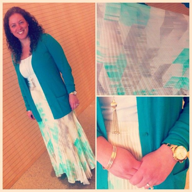 Marsha in a pleated sea of gold and turquoise! Love! #EdelStyle