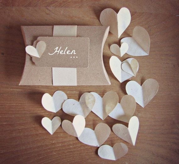 Plantable Seed Paper Hearts & Pillow Box Wedding Favours