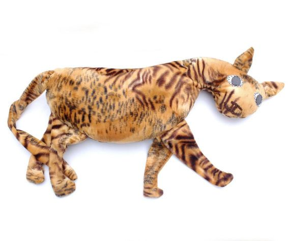 Tiger Pillow Kids Room Decor Country House Summer Whimsical Animal Sweet Brown Soft Toy Funny Plush