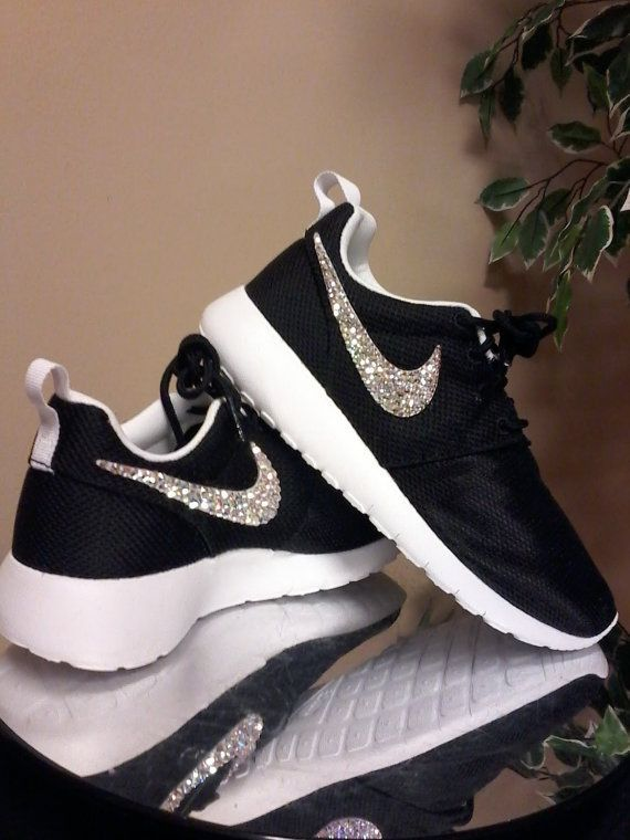 Bling Roshe/WHITE Soles Turn Around Time 2-3 Weeks. ALL FOUR SWOOSHES BLINGED!  Bling Roshe sneakers are the hottest thing going! I bling ALL FOUR Nike Swooshes not just the outside logos like most others.  Your Roshe sneakers will arrive with a crisp, professional look. I tend to use more crystals, (see photos) meaning more Bling for your buck! I also have a few other professional secrets to insure you the best looking custom Swarovski Roshe sneakers ever! :-)  I use Authentic SWAROVSKI...