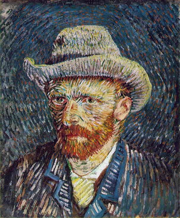 「フェルト帽をかぶった自画像」 1887-88 冬 44 x 37.5 cm ファン・ゴッホ美術館、アムステルダム