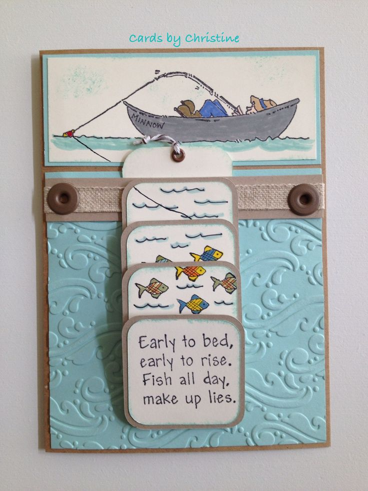 Waterfall Fishing Card - Stamps by Judith. Paper Stampin Up Very Vanilla, Soft Sky, Kraft. Sizzix Embossing Folder