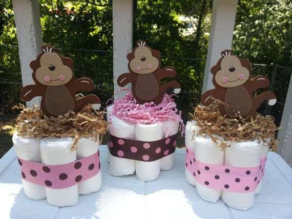 3 MONKEY girl mini diaper cakes baby shower by diapercake4less,