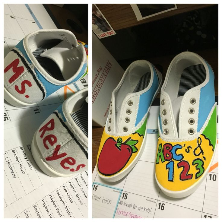 Bought these white canvas shoes for $6.00 at Walmart & painted them myself.  DIY Teacher