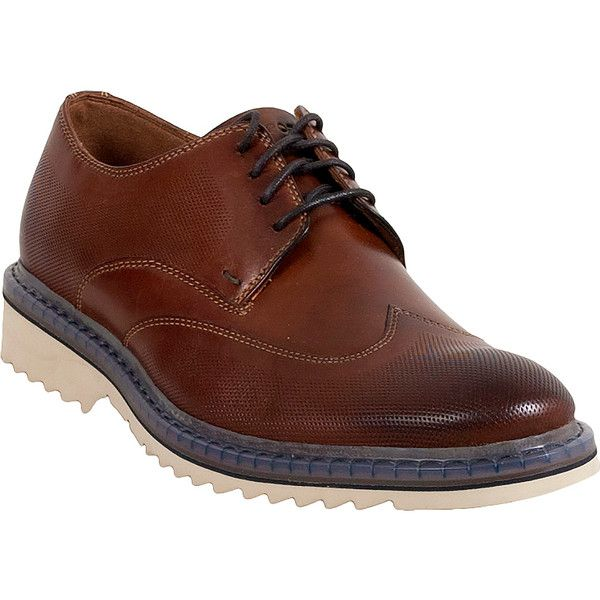 Rockport Jaxson Wingtip Men's  Dress Shoe ($160) ❤ liked on Polyvore featuring men's fashion, men's shoes, men's dress shoes, brown, mens wingtip shoes, mens dress loafers shoes, mens wingtip dress shoes, mens nubuck shoes and mens shoes