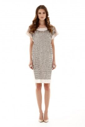METALLIC BEIGE OBLONG DRESS