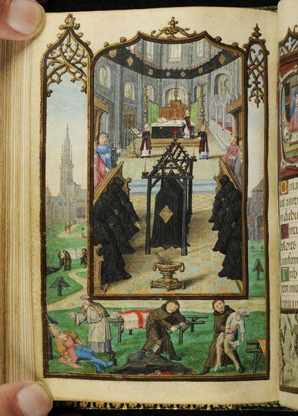 Pierpont Morgan Library. Manuscript. M.1175. Fol. 124v, 1) Scene, Liturgical: Obsequies; 2) Scene, Liturgical: Burial.