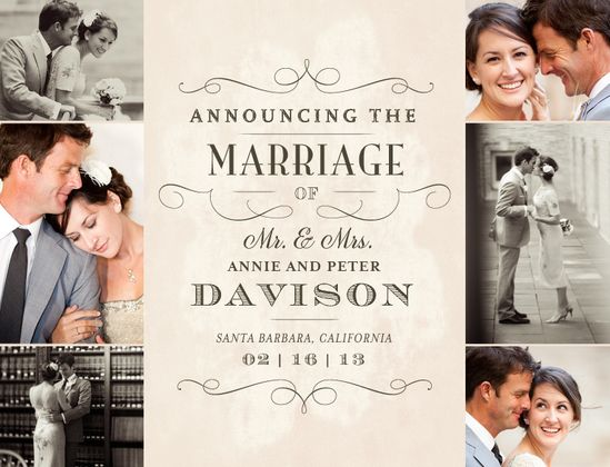Marriage Telegram Wedding Announcement - weddingpaperdivas.com