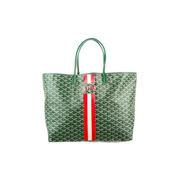 Goyard St. Louis Tote ❤ liked on Polyvore featuring bags, handbags, tote bags, green handbags, tote hand bags, goyard tote, goyard purse and goyard handbags