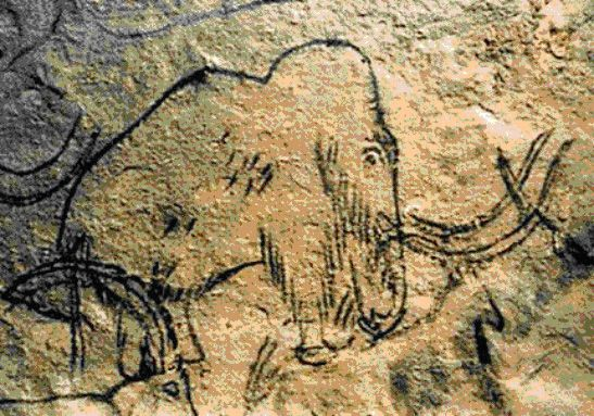 Mammoth cave painting from Roufignac, France.
