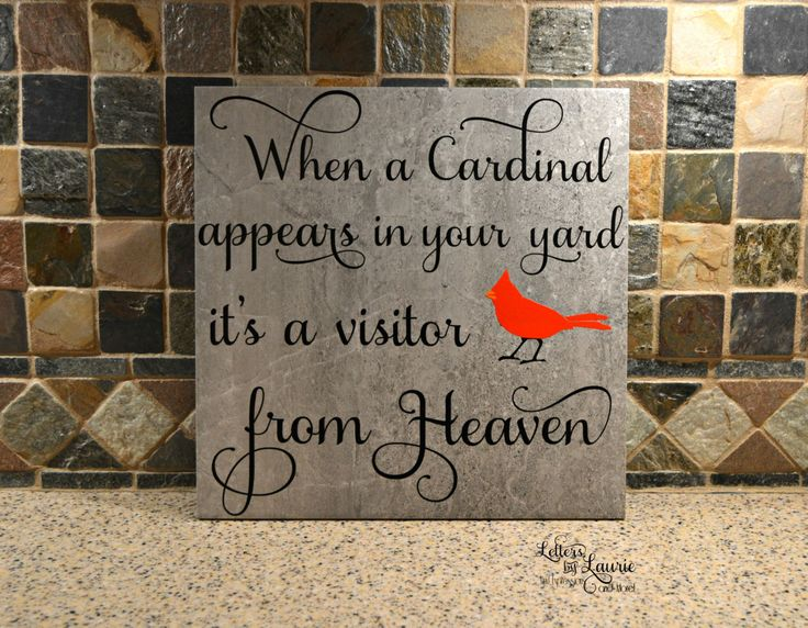 12x12 When a Cardinal appears, In loving memory sign, Memorial gift, Personalized Loving memory sign, Custom tile or wooden canvas - pinned by pin4etsy.com