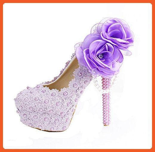 Oudy Women's Floral Birthday Pumps Romance Platform Brides Shoes High Heels 7 US 4.75In Heels Purple - Pumps for women (*Amazon Partner-Link)