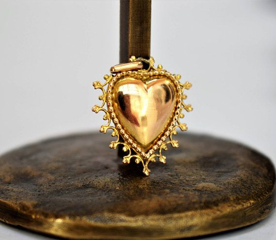Antique Victorian Golden Heart Pendant Victorian Ex Voto