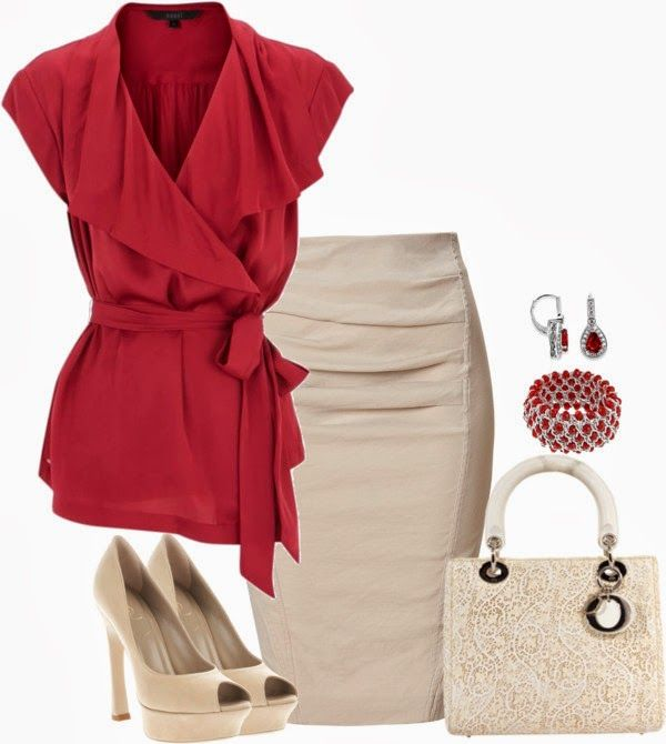 Work Outfits | Red Ruffles  Pink blouse, DONNA KARAN pencil skirt, YVES SAINT LAURENT shoes, Christian Dior bag  by lisamichele-cdxci