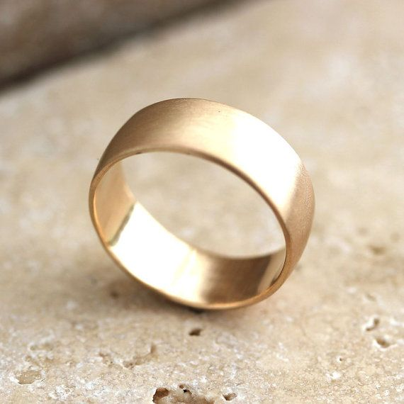 wide mens gold wedding ring 8mm low dome mens wedding band recyled 10k yellow gold - Mens Gold Wedding Rings