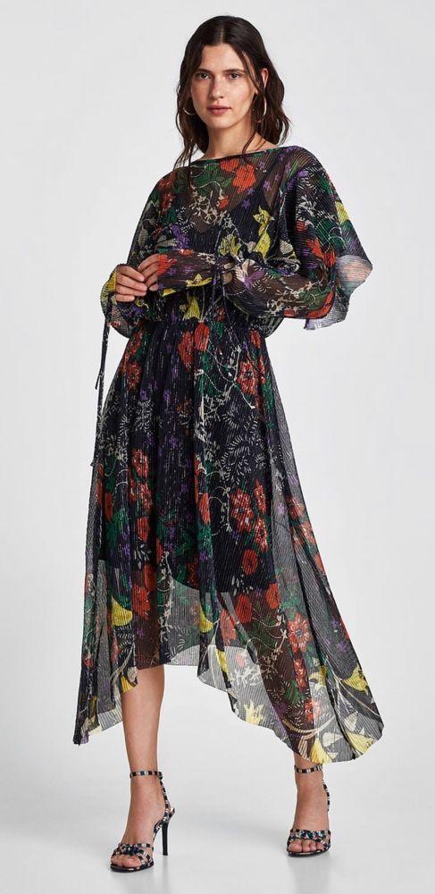 097609a3dd4 BNWT ZARA BLUE SHINY PRINT PLEATED MIDI DRESS Size S MRP 49.99  fashion   clothing  shoes  accessories  womensclothing  dresses