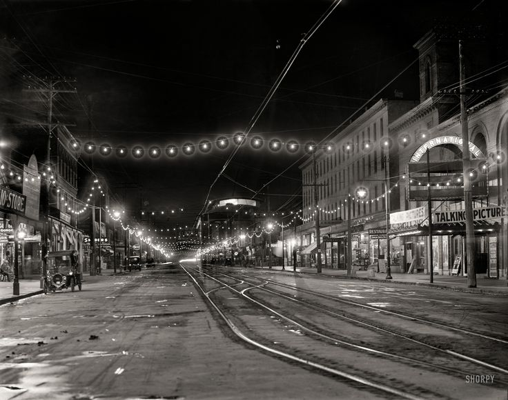 "Niagara Falls, New York, circa 1908. ""Falls Street at Night.""  Shorpy Historic Picture Archive"