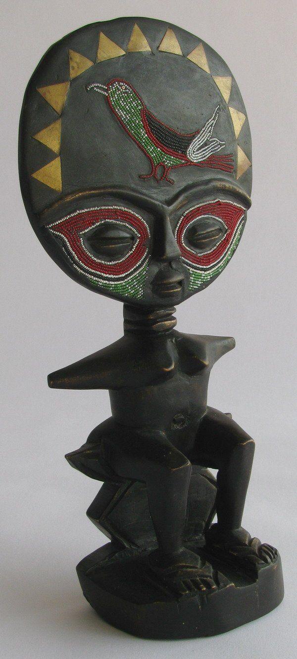 African ebony statue tree of life tribal figurative sculpture designer unique finds