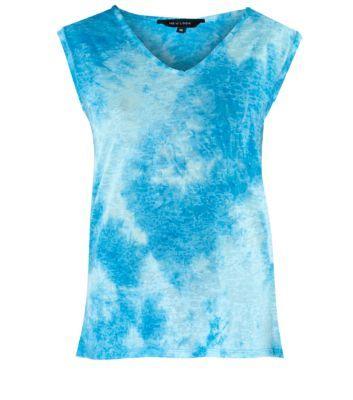 Blue V Neck Tie Dye Top