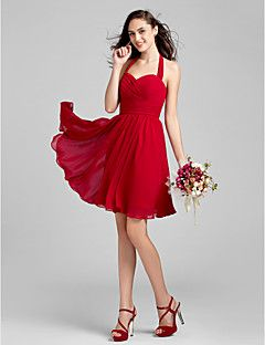 Knee-length Chiffon Bridesmaid Dress - Ruby / Grape / Royal ... – USD $ 69.99