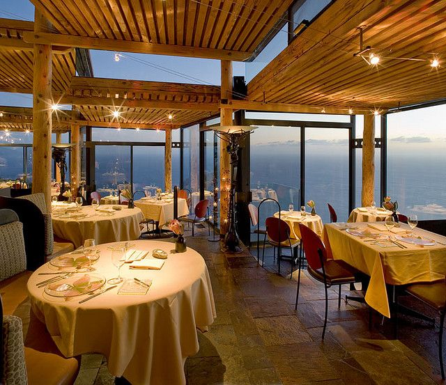 Sierra Mar Restaurant at Post Ranch Inn hangs over the cliffs of Big Sur, California.