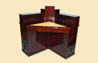 Art Deco Corner Desk with leather