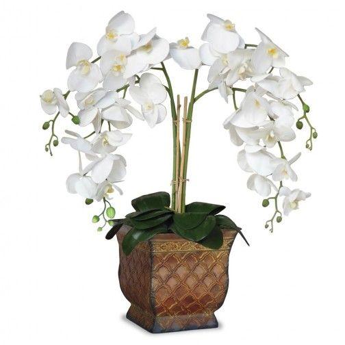 Arranjo Orquideas Brancas Real Toque 50x 30 cm