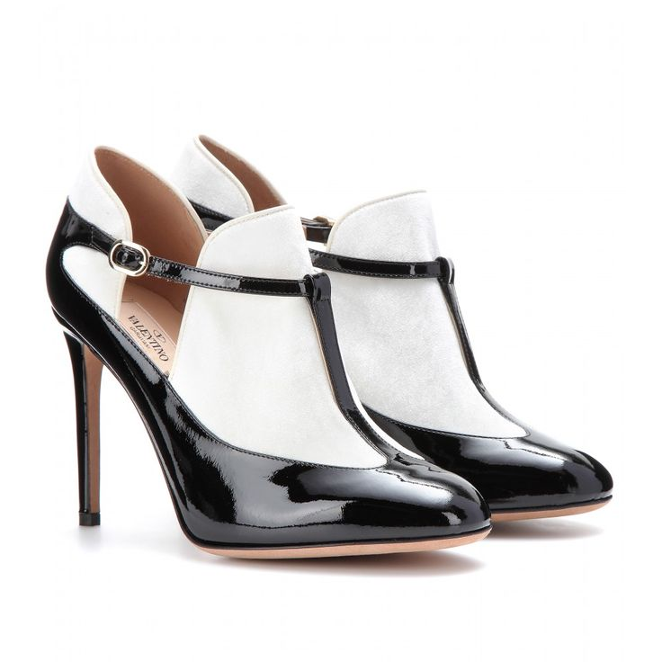 mytheresa.com - Patent-leather and velvet T-bar pumps - boots & booties - shoes - sale - Luxury Fashion for Women / Designer clothing, shoes...