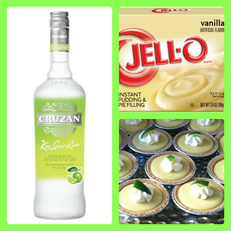 KEY LIME PIE PUDDING SHOTS 1 small pkg. vanilla pudding (instant, not the cooking kind) ¾ Cup Milk 3/4 Cup key lime vodka 8oz tub Cool Whip  Directions 1. Whisk together the milk, liquor, and instant pudding in a bowl until combined. 2. Add cool whip a little at a time with whisk. 3. Spoon the pudding mixture into shot glasses, disposable party shot cups or 1 or 2 ounce cups with lids or mini pie crusts. Place in freezer for at least 2 hours.