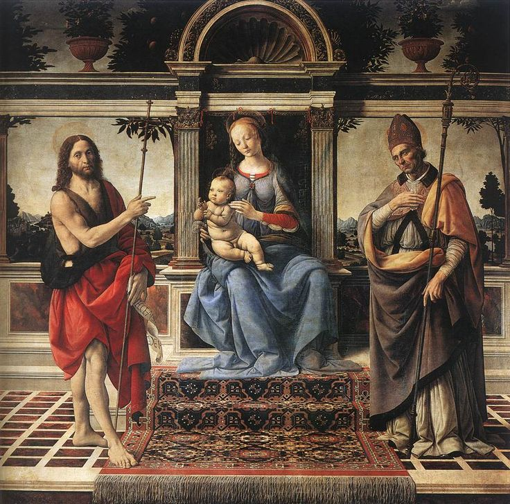 Andrea del VERROCCHIO  (b. 1435, Firenze, d. 1488, Venezia)  Madonna with Sts John the Baptist and Donatus  1475-83  Wood, 189 x 191 cm  Duomo, Pistoia  ArtExperienceNYC  www.artexperiencenyc.com