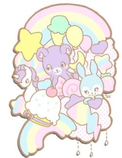 ☆ rainbows unicorn bunny teddy pastels