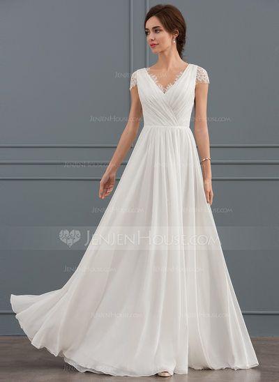 A-Line V-neck Floor-Length Chiffon Lace Wedding Dress With Ruffle (002127339) – …