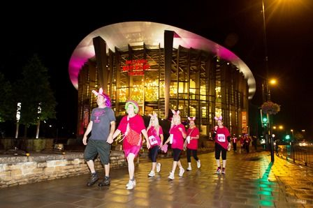 Aylesbury Waterside Theatre show its support by going 'pink' for the night