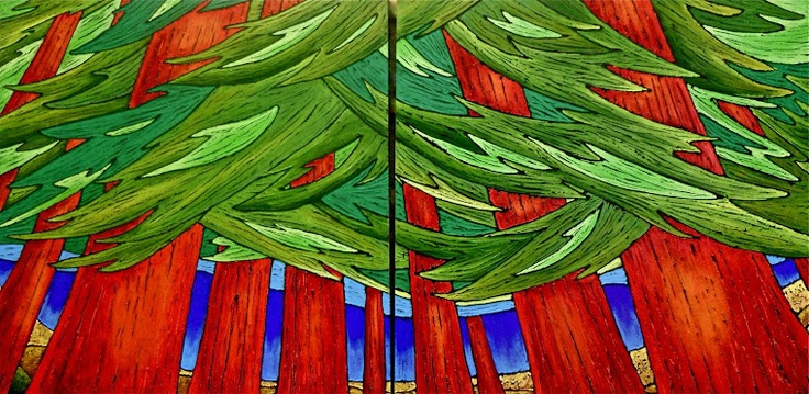 """Artist: Chrissandra """"The Love that Surrounds Me"""".  Perfect title - makes me want to enter that grove of majestic red cedar.  Form, composition, colour and feeling, rather than detail"""