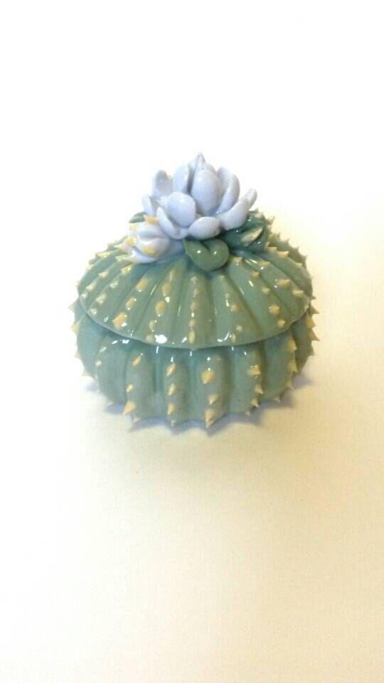 Vintage Prickly Peyote Cactus Jewelry Box  by NonsuchNovelties