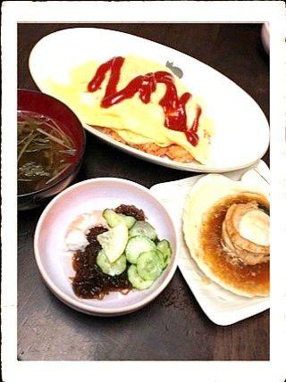 父の手料理です!(^^) - 7件のもぐもぐ - オムライス、もずく酢、ホタテの醤油バター焼き、お吸い物(^^) by minonappa