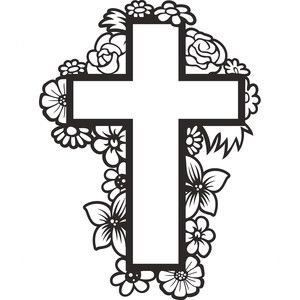 Silhouette Design Store - View Design #190693: floral cross