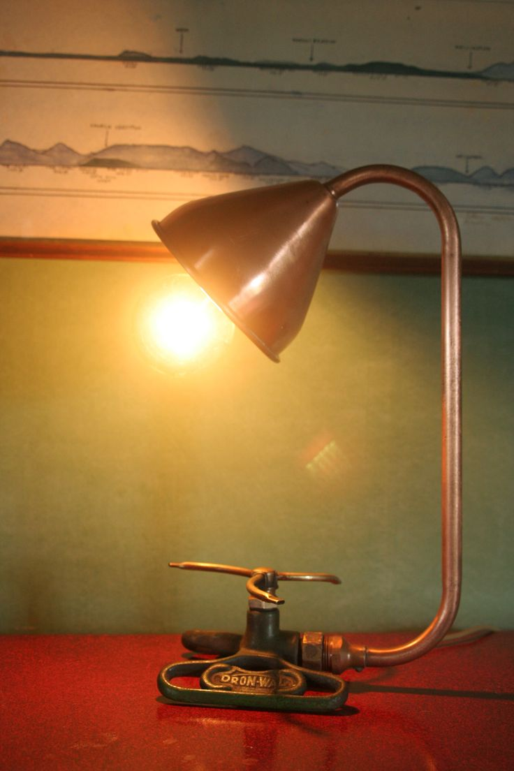 industrial lighting ideas. table lamp made from reclaimed cast iron sprinkler wine funnel and plumbing fittings find this pin more on industrial lighting ideas n
