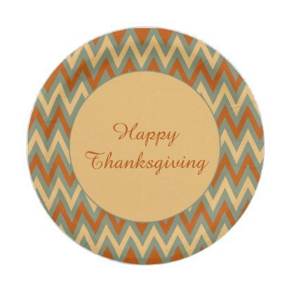 Happy Thanksgiving Red Green and Yellow Chevron Paper Plate - fall decor diy customize special cyo