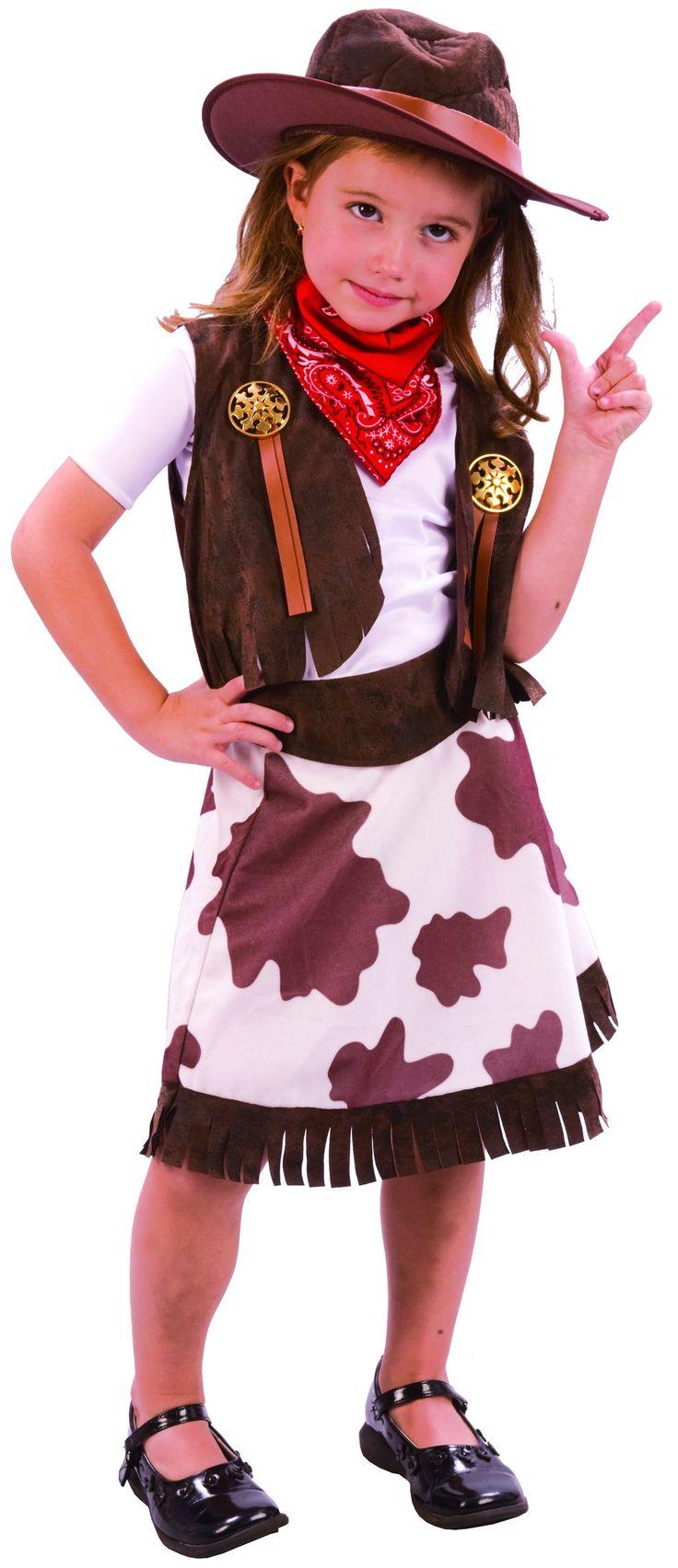 Disfraz de vaquera para niña: Este disfraz de vaquera para niña se compone de una falda, un chaleco, un sombrero y un pañuelo. El sombrero semirrígido es de imitación de cuero envejecido marrón....