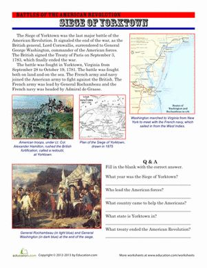 July 4th/Independence Day Memorial Day Fourth Grade History Comprehension Worksheets: The Siege of Yorktown