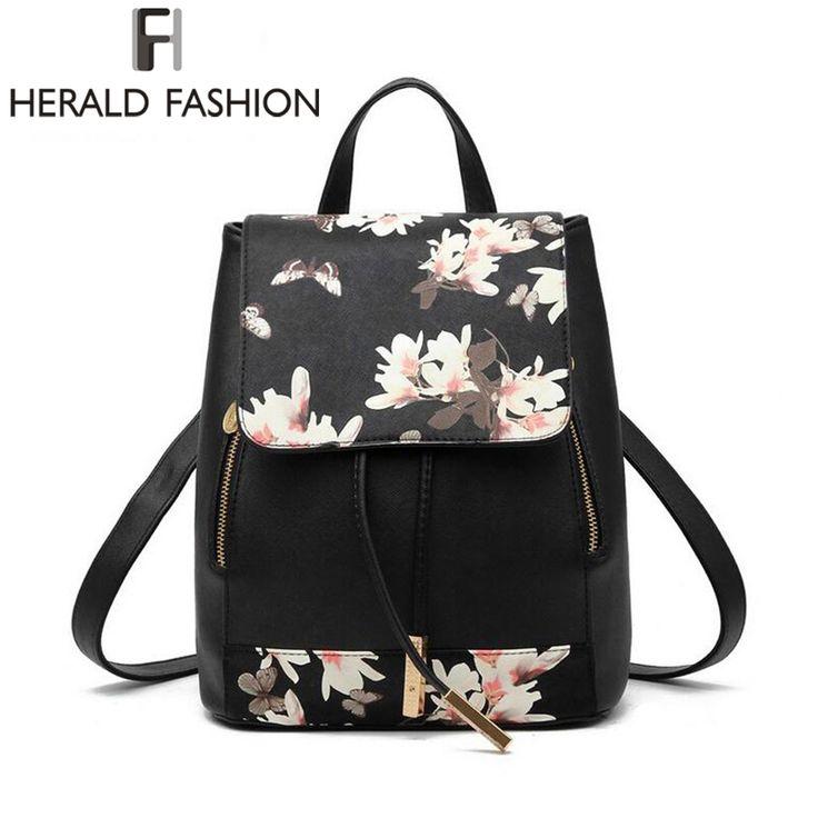 Backpack Leather Shoulder Bag Floral School Bag PU27